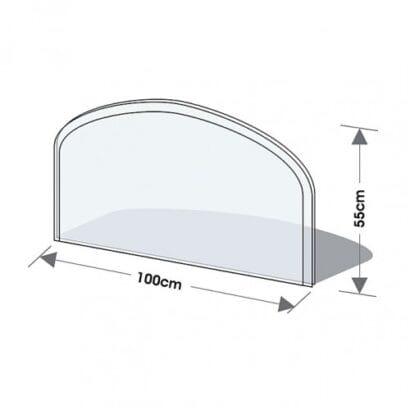 Sklo před kamna 3 hrany s fasetou, oblouk 100/55 cm tl. 6mm Lienbacher