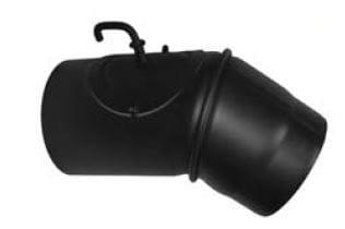 Koleno otočné s čistícím otvorem a klapkou 200/45/2 černé Stahl system
