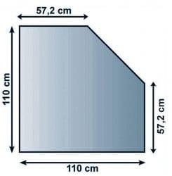 Sklo pod kamna čtverec seříznutý 100/57 cm tl. 8mm Lienbacher